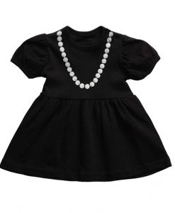 Baby Ladies little black dress met parelketting