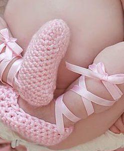 Baby ballerinas met babyroze satijnenband