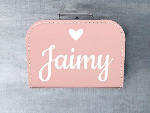 roze koffer met naam