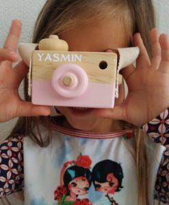 Houten camera met eigen naam