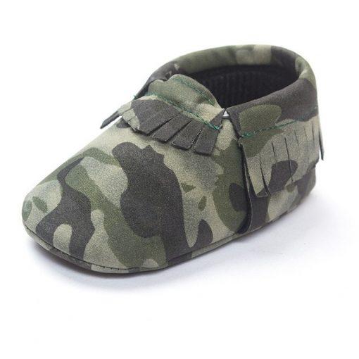 Camo babyschoentjes mocassin stijl