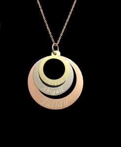 Tricolor ring ketting met naam
