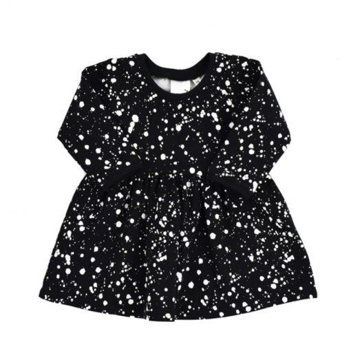 Zwarte jurk met witte verf spatten