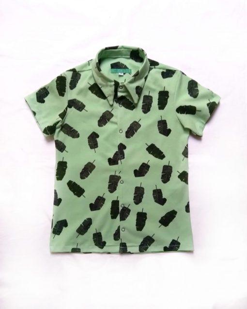 Overhemd met bananenbladeren print